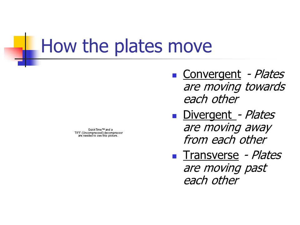 How the plates move Convergent - Plates are moving towards each other