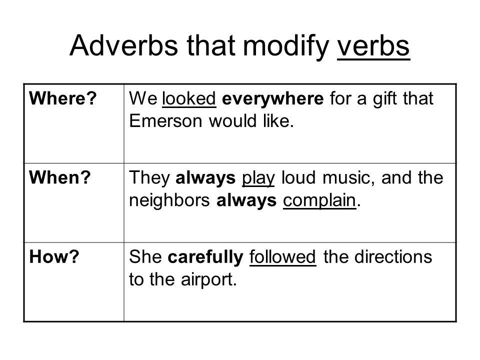 Adverbs that modify verbs