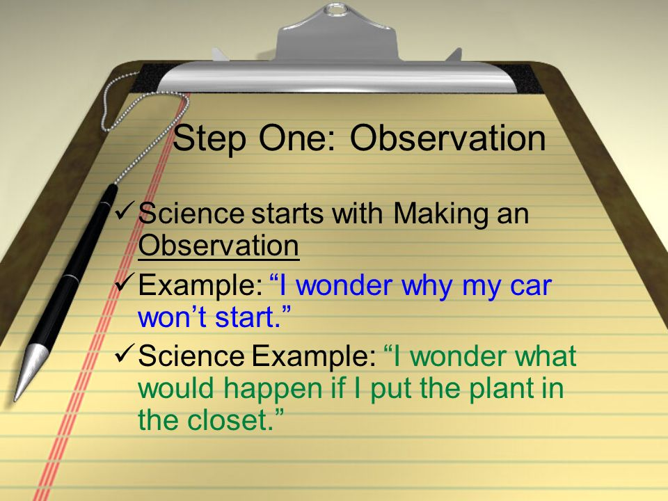 Step One: Observation Science starts with Making an Observation