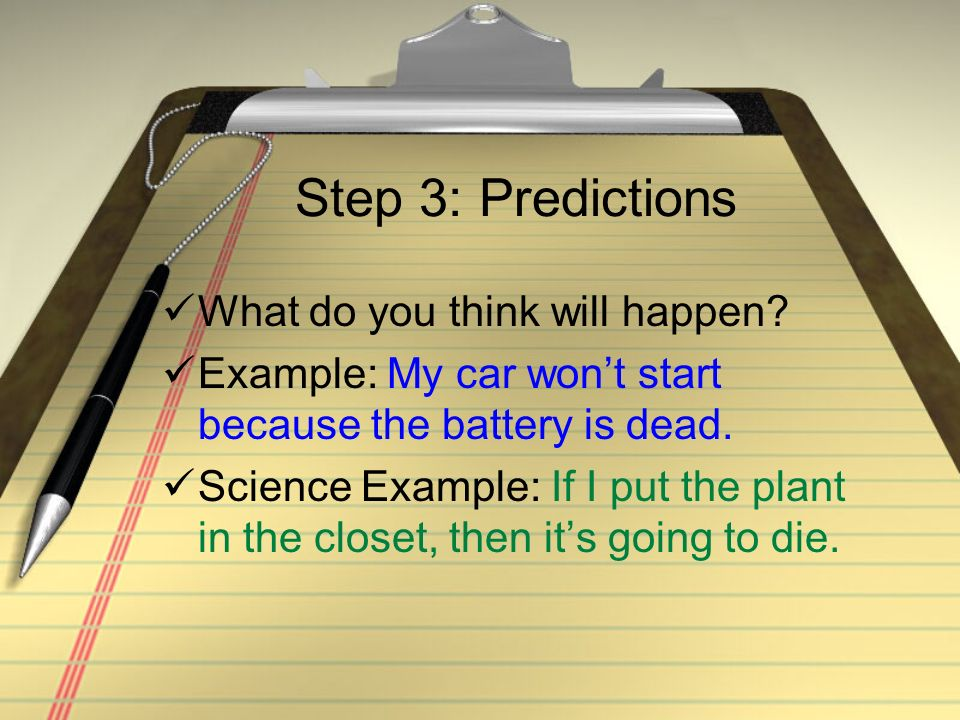 Step 3: Predictions What do you think will happen