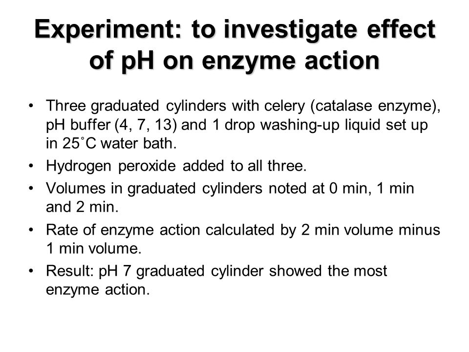 An overview of the experiment the effect of temperature on the enzyme catalase