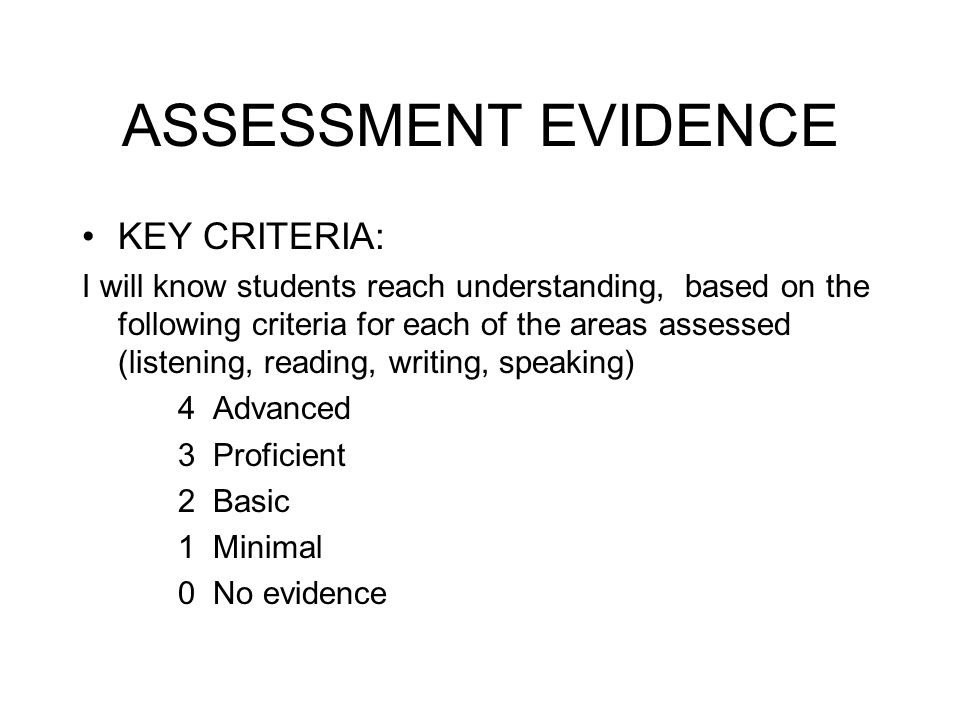 ASSESSMENT EVIDENCE KEY CRITERIA: