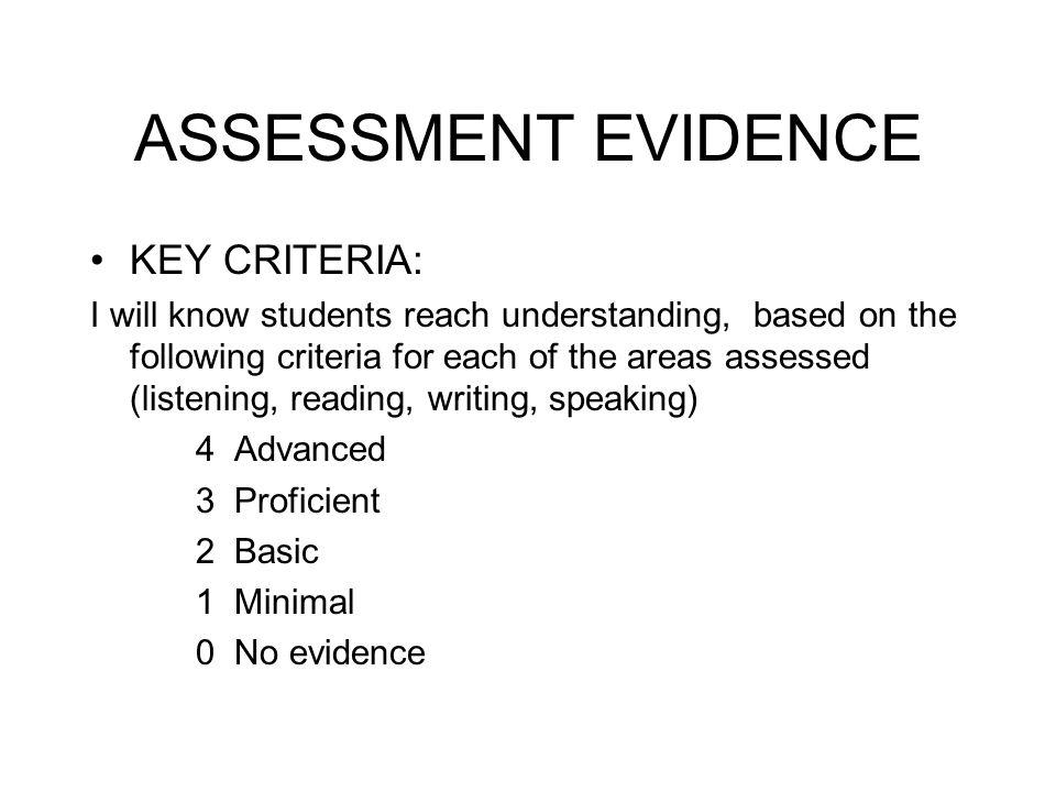 ASSESSMENT EVIDENCE KEY CRITERIA: