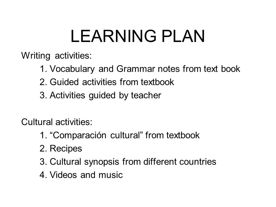 LEARNING PLAN Writing activities: