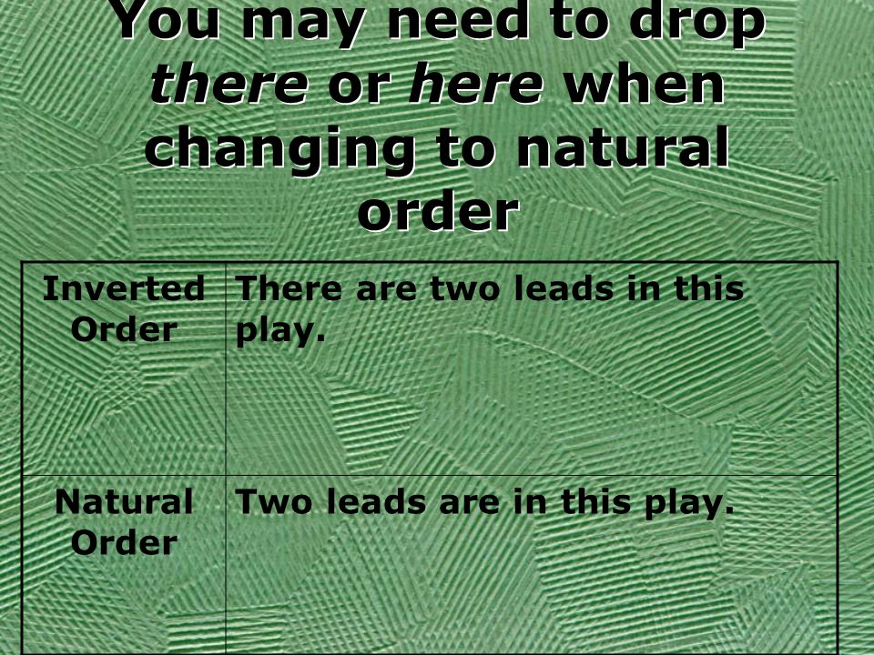 You may need to drop there or here when changing to natural order