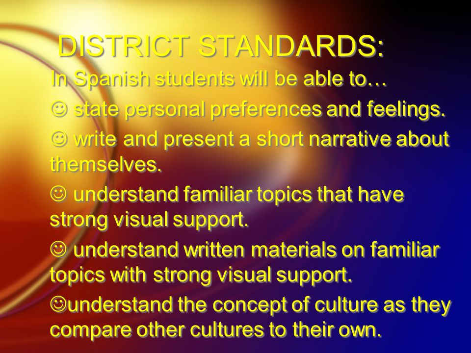 DISTRICT STANDARDS: In Spanish students will be able to…