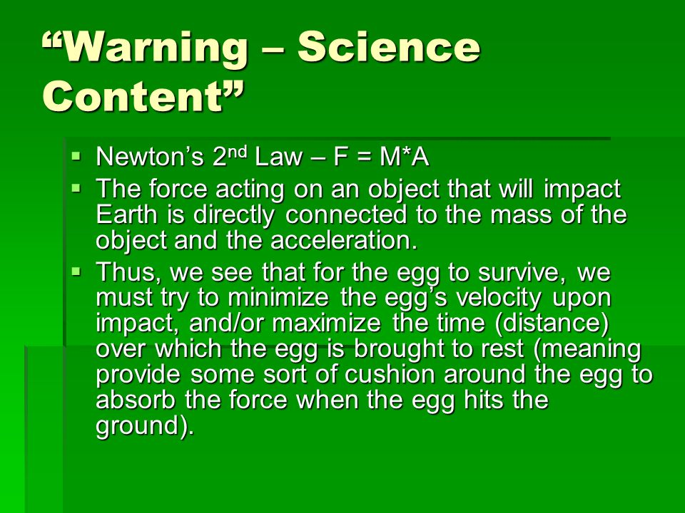 Warning – Science Content