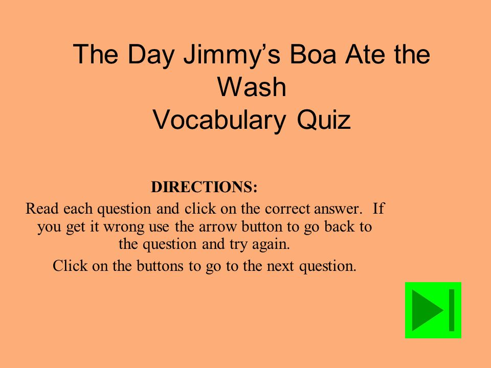 The Day Jimmy's Boa Ate the Wash Vocabulary Quiz