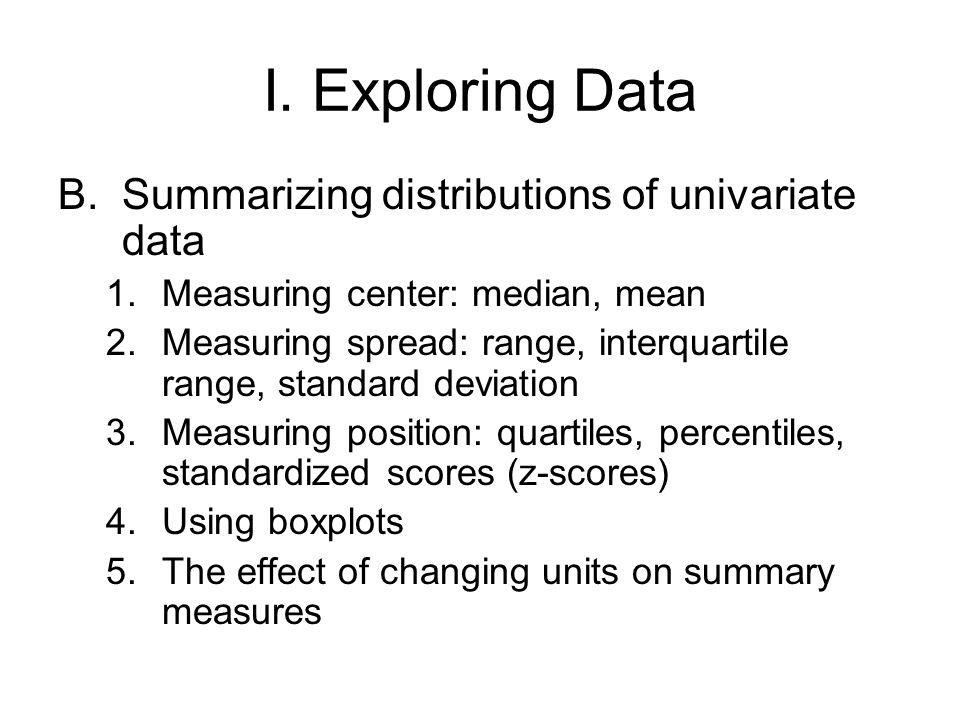 I. Exploring Data Summarizing distributions of univariate data