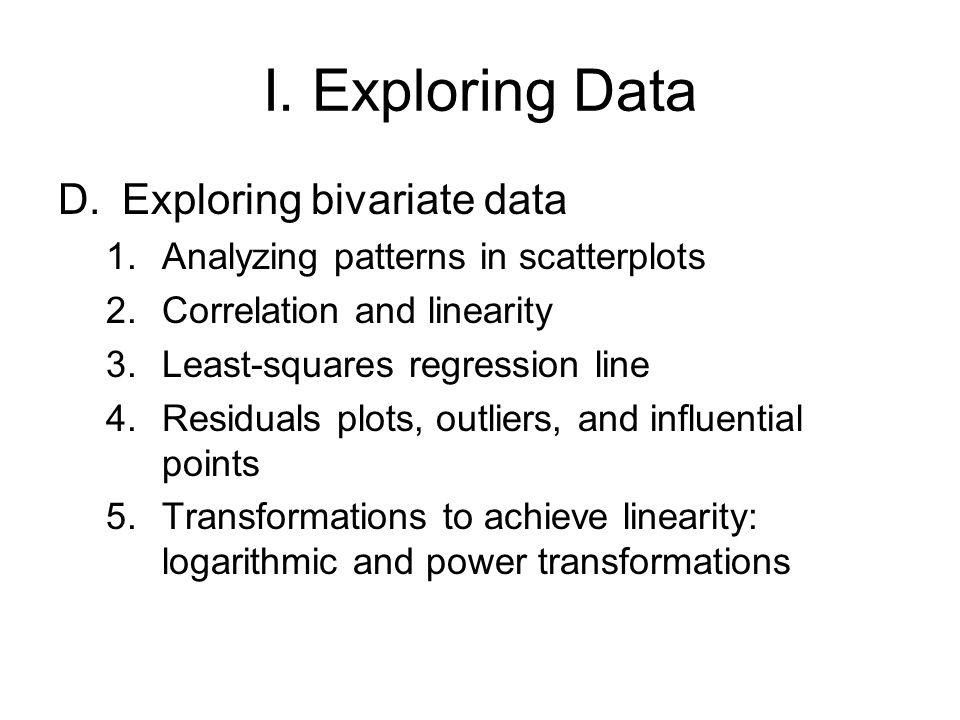 I. Exploring Data Exploring bivariate data