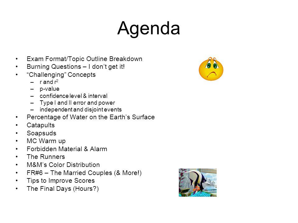 Agenda Exam Format/Topic Outline Breakdown