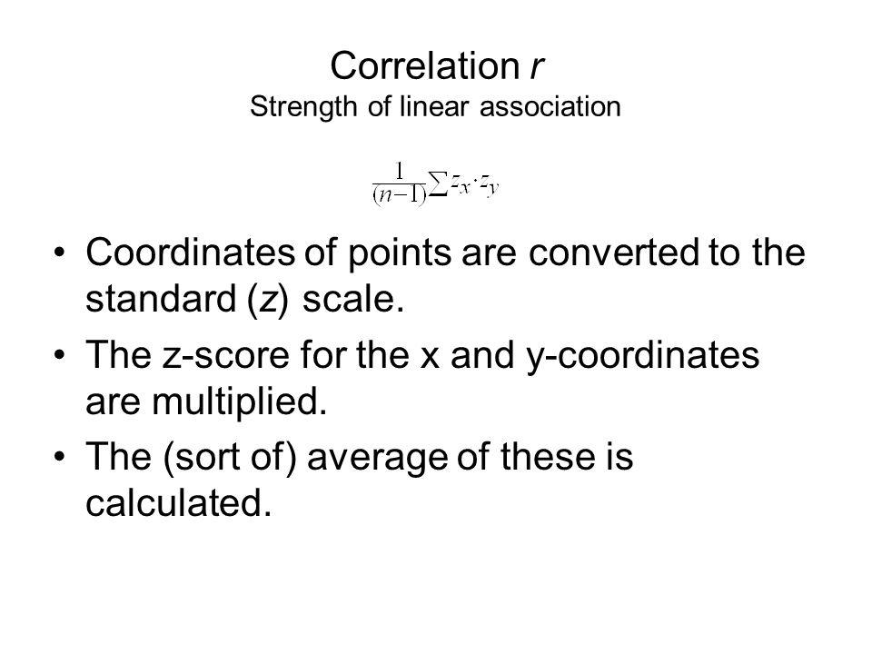 Correlation r Strength of linear association