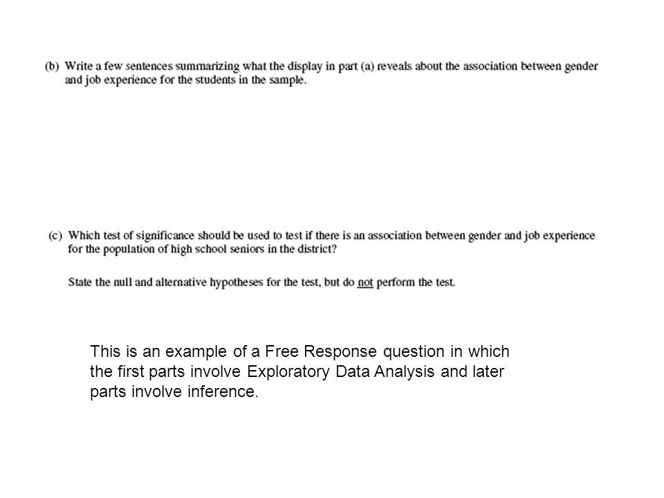 This is an example of a Free Response question in which the first parts involve Exploratory Data Analysis and later parts involve inference.