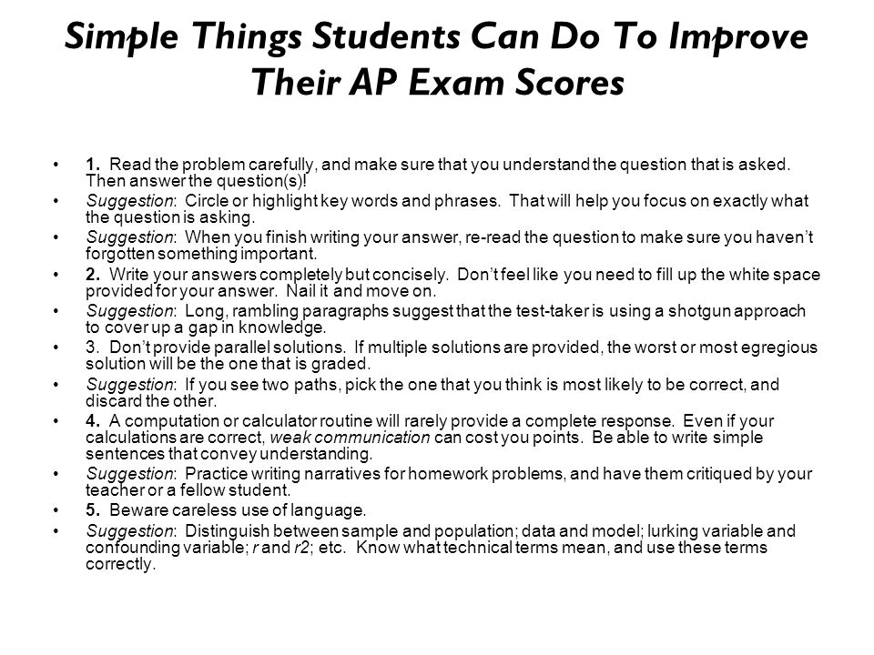 Simple Things Students Can Do To Improve Their AP Exam Scores