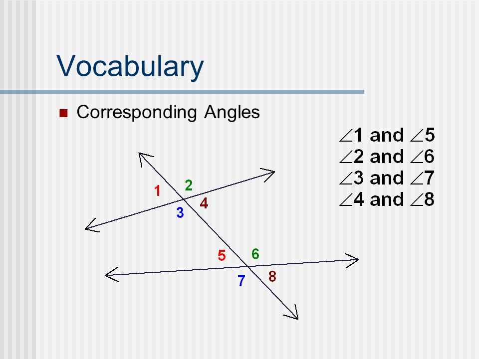 Vocabulary Corresponding Angles