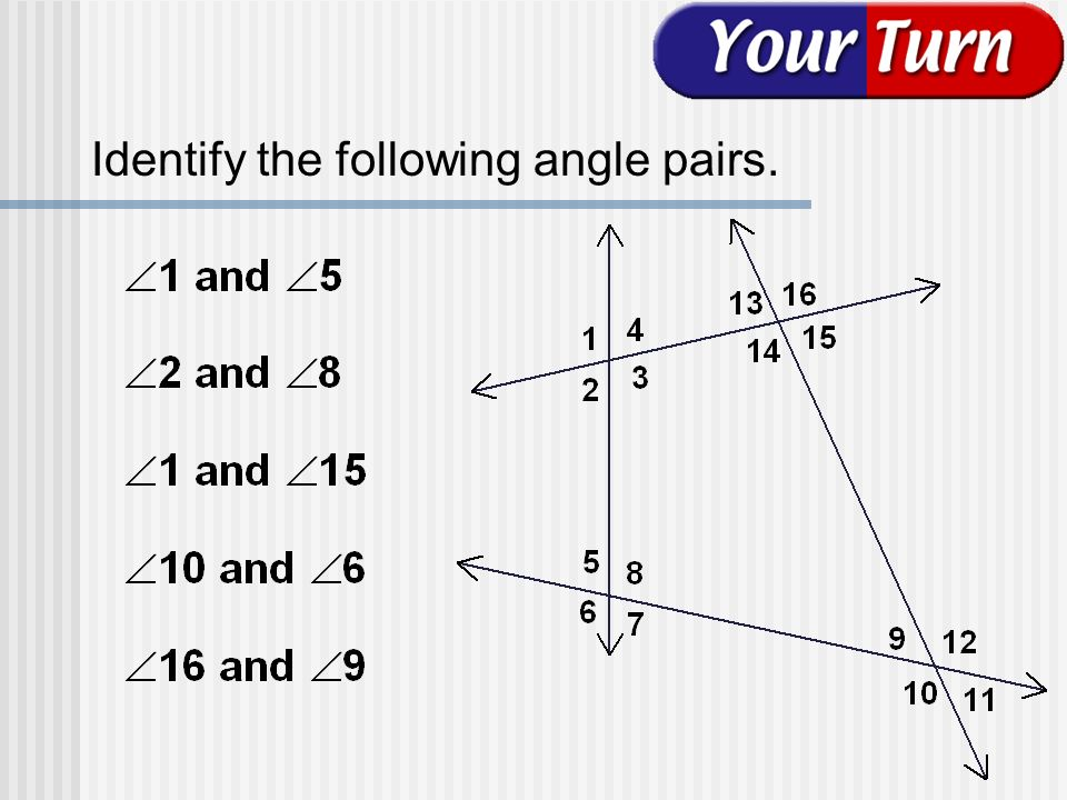 Identify the following angle pairs.
