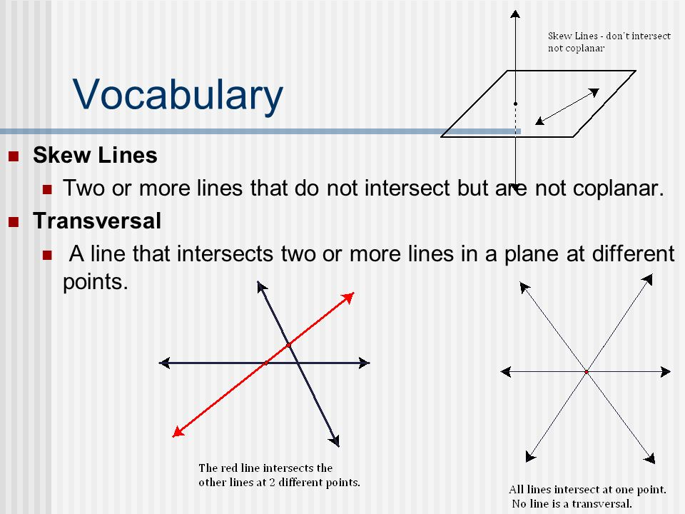 Vocabulary Skew Lines. Two or more lines that do not intersect but are not coplanar. Transversal.