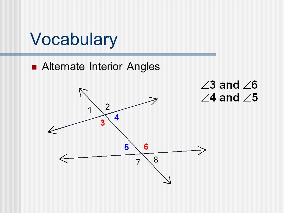 Vocabulary Alternate Interior Angles