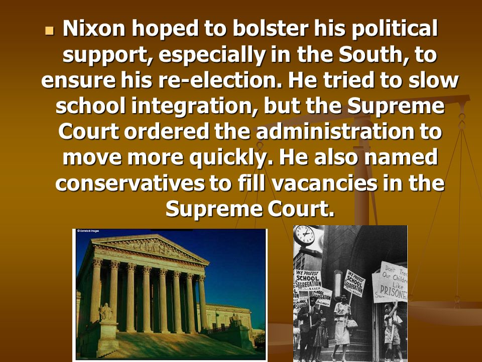 Nixon hoped to bolster his political support, especially in the South, to ensure his re-election.