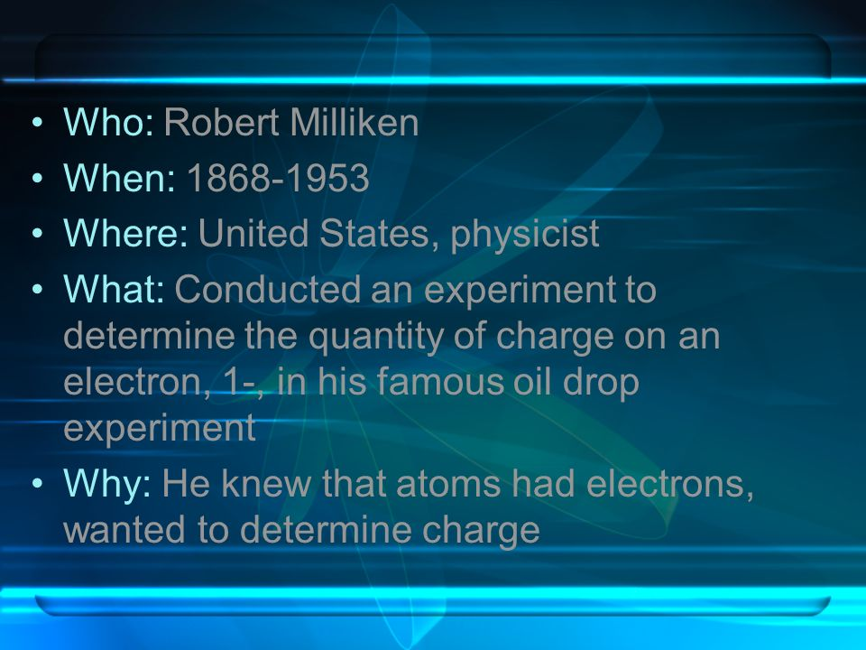 Who: Robert Milliken When: 1868-1953. Where: United States, physicist.
