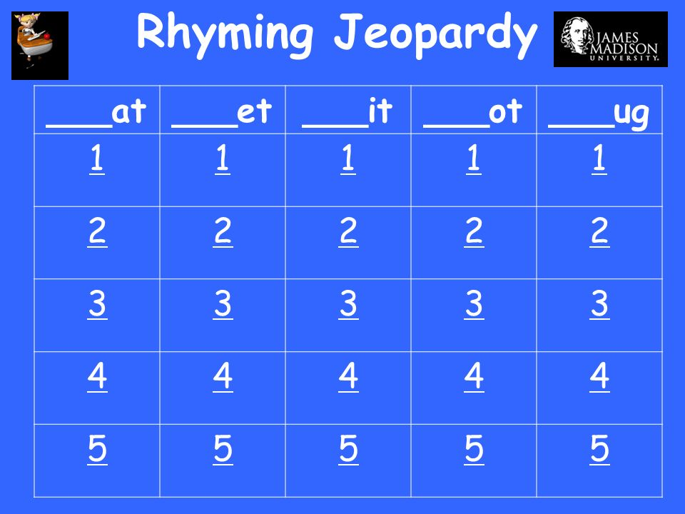 Rhyming Jeopardy ___at ___et ___it ___ot ___ug 1 2 3 4 5