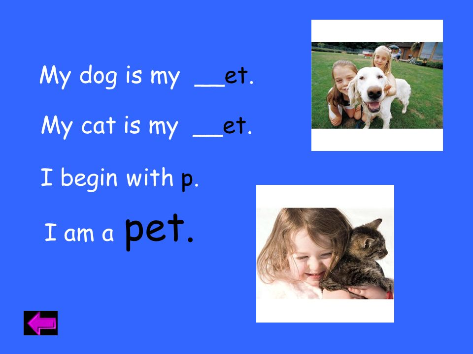 My dog is my __et. My cat is my __et. I begin with p. pet. I am a