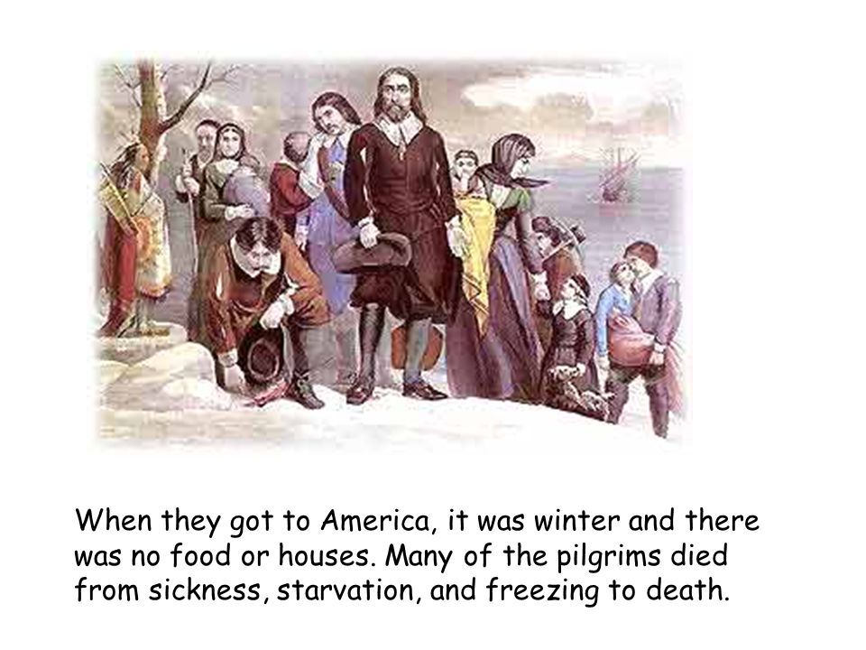 When they got to America, it was winter and there was no food or houses.