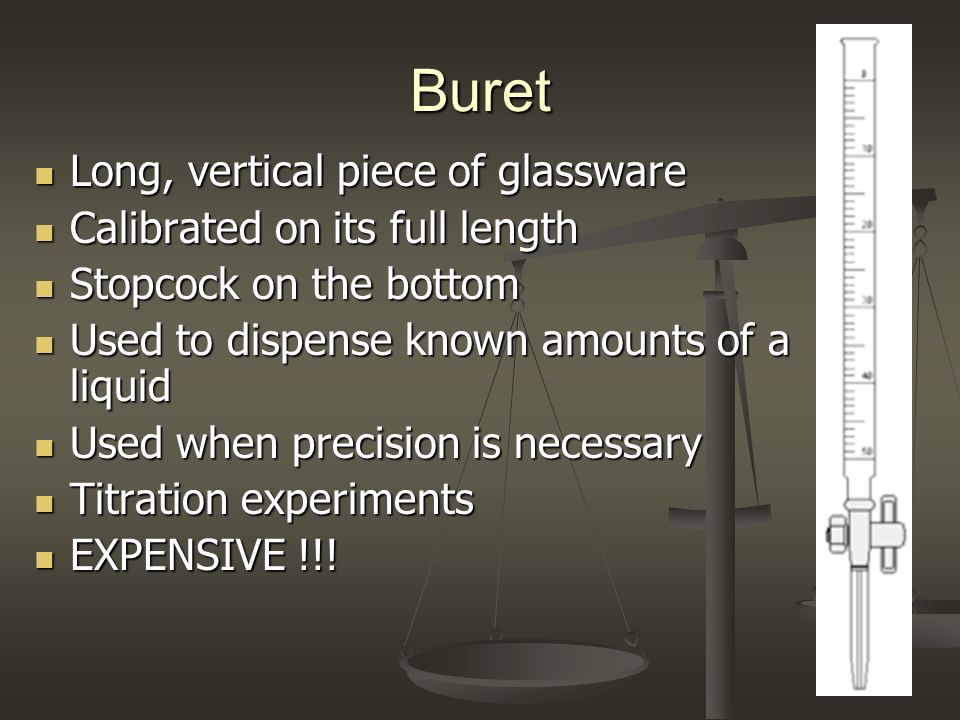 Buret Long, vertical piece of glassware Calibrated on its full length