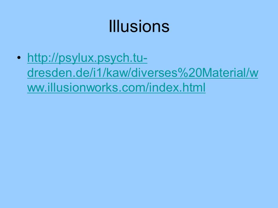 Illusions http://psylux.psych.tu-dresden.de/i1/kaw/diverses%20Material/www.illusionworks.com/index.html.