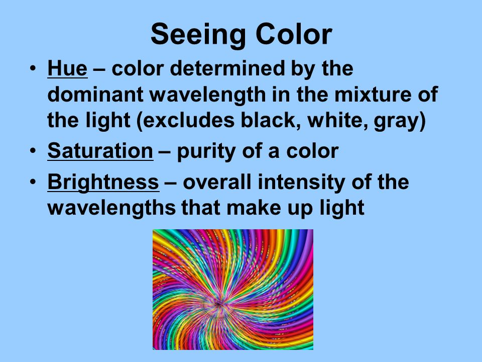 Seeing Color Hue – color determined by the dominant wavelength in the mixture of the light (excludes black, white, gray)