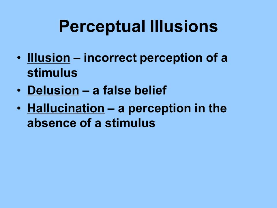Perceptual Illusions Illusion – incorrect perception of a stimulus