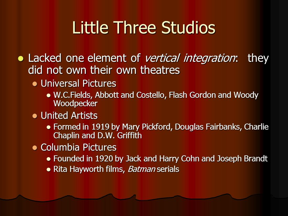 Little Three Studios Lacked one element of vertical integration: they did not own their own theatres.