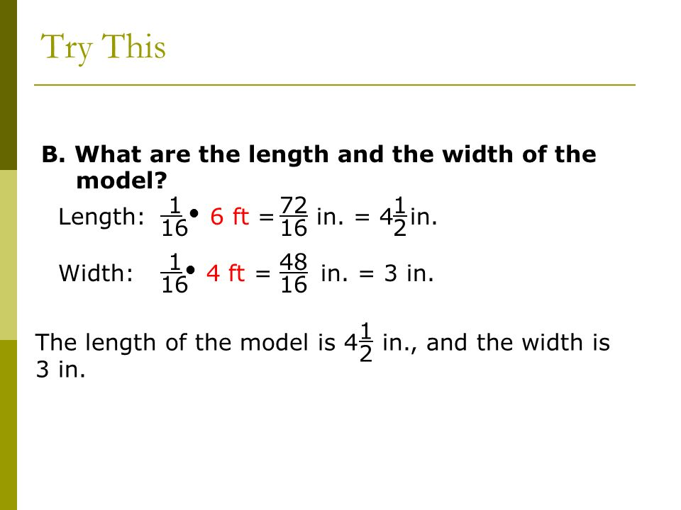 Try This B. What are the length and the width of the model
