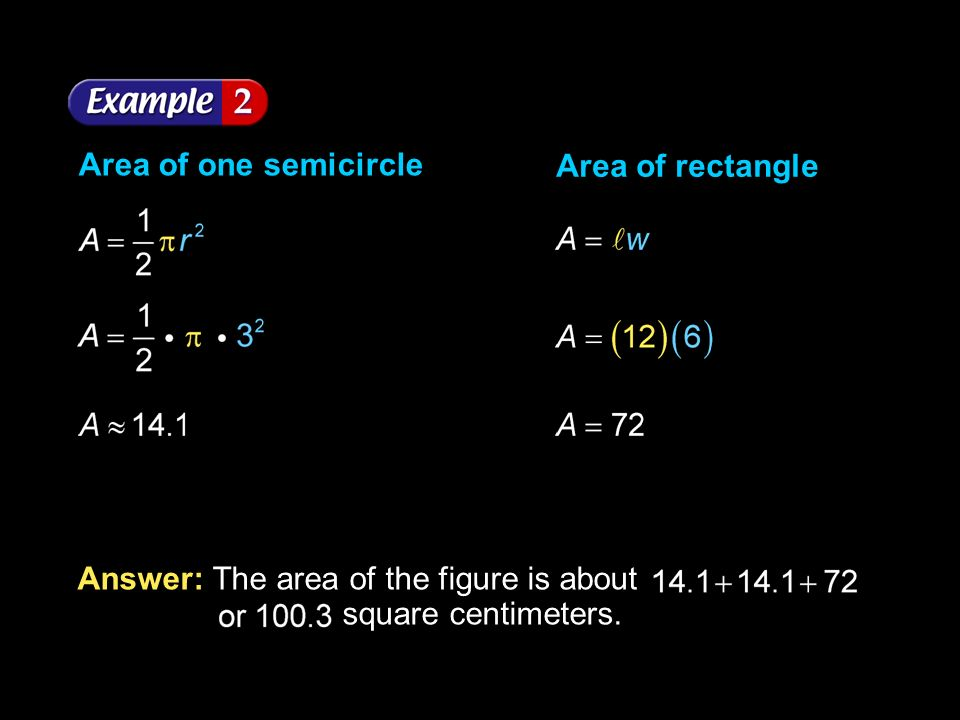 Area of one semicircle Area of rectangle.