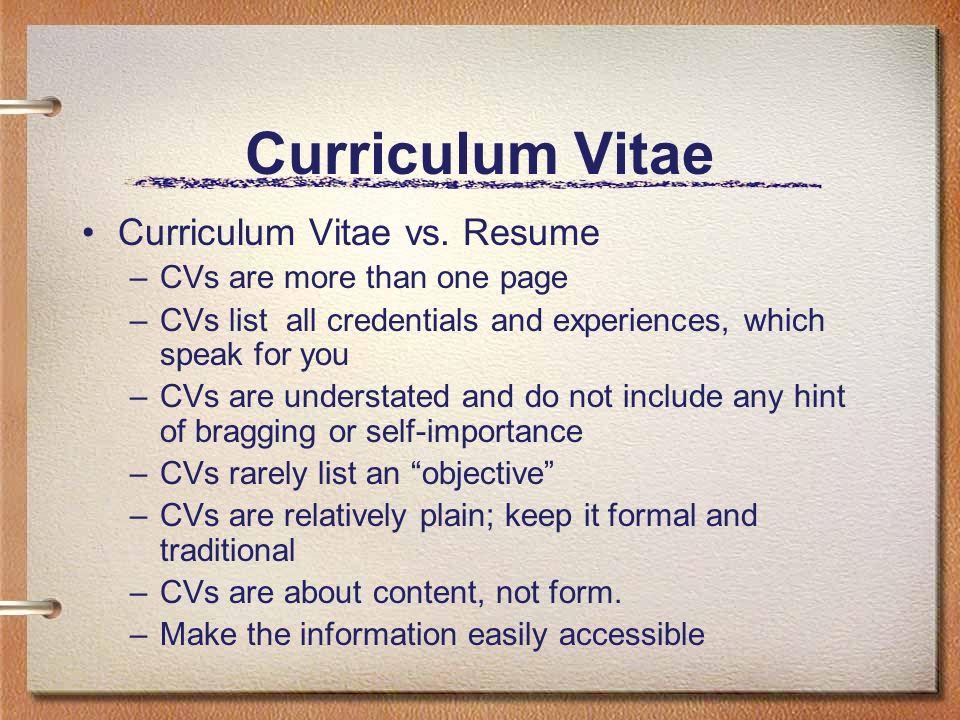 2 Curriculum Vitae Curriculum Vitae Vs. Resume  Curriculum Vitae Vs Resume