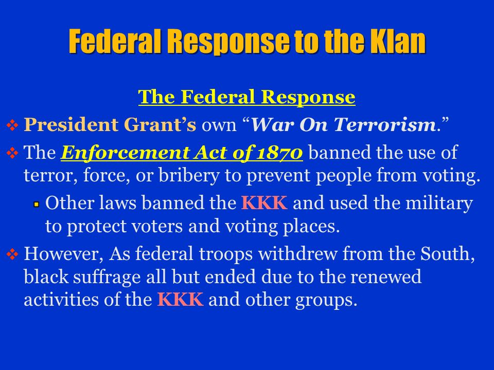Federal Response to the Klan