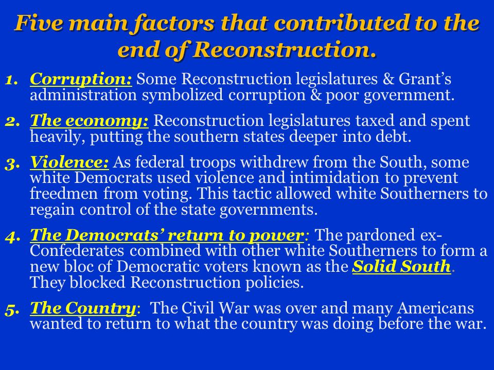 Five main factors that contributed to the end of Reconstruction.