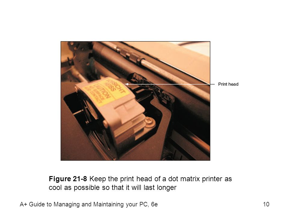 Figure 21-8 Keep the print head of a dot matrix printer as cool as possible so that it will last longer
