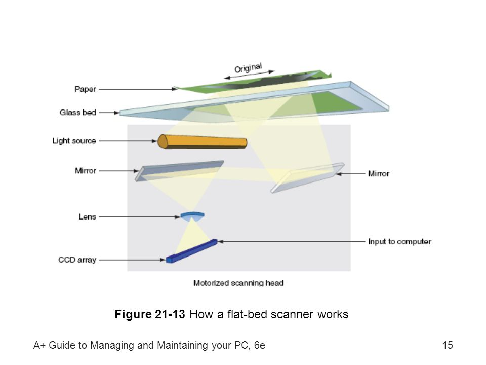 Figure 21-13 How a flat-bed scanner works