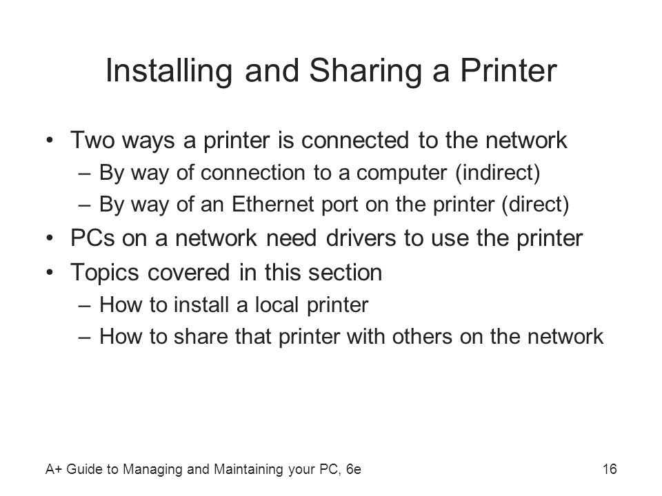 Installing and Sharing a Printer