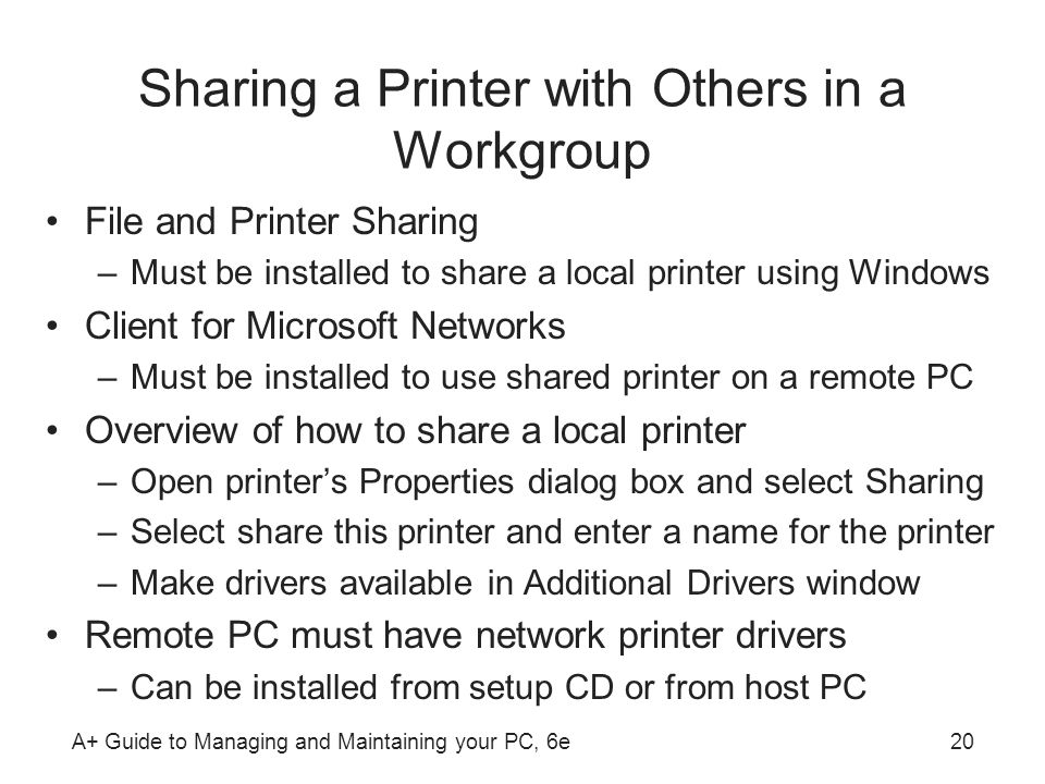 Sharing a Printer with Others in a Workgroup