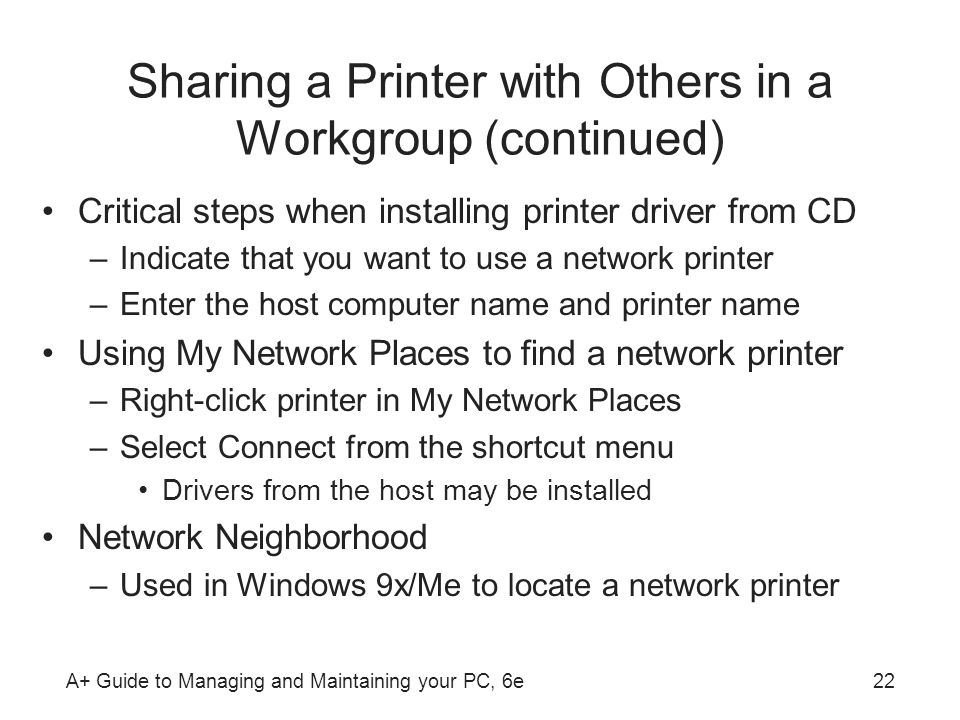 Sharing a Printer with Others in a Workgroup (continued)