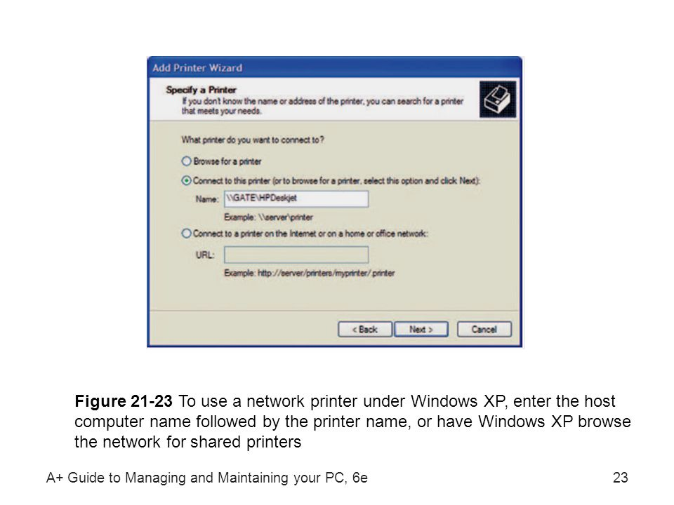 Figure To use a network printer under Windows XP, enter the host computer name followed by the printer name, or have Windows XP browse the network for shared printers