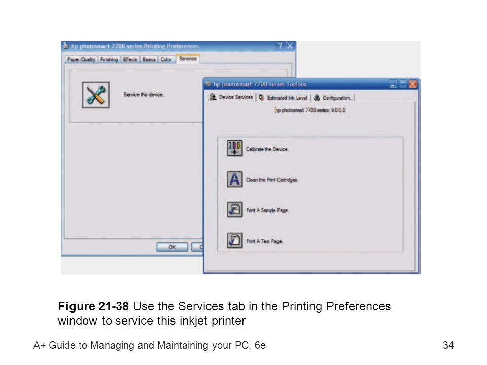 Figure 21-38 Use the Services tab in the Printing Preferences window to service this inkjet printer