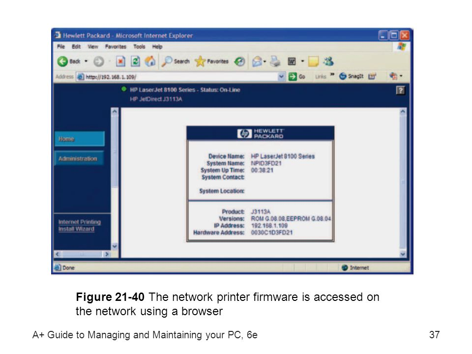 Figure 21-40 The network printer firmware is accessed on the network using a browser