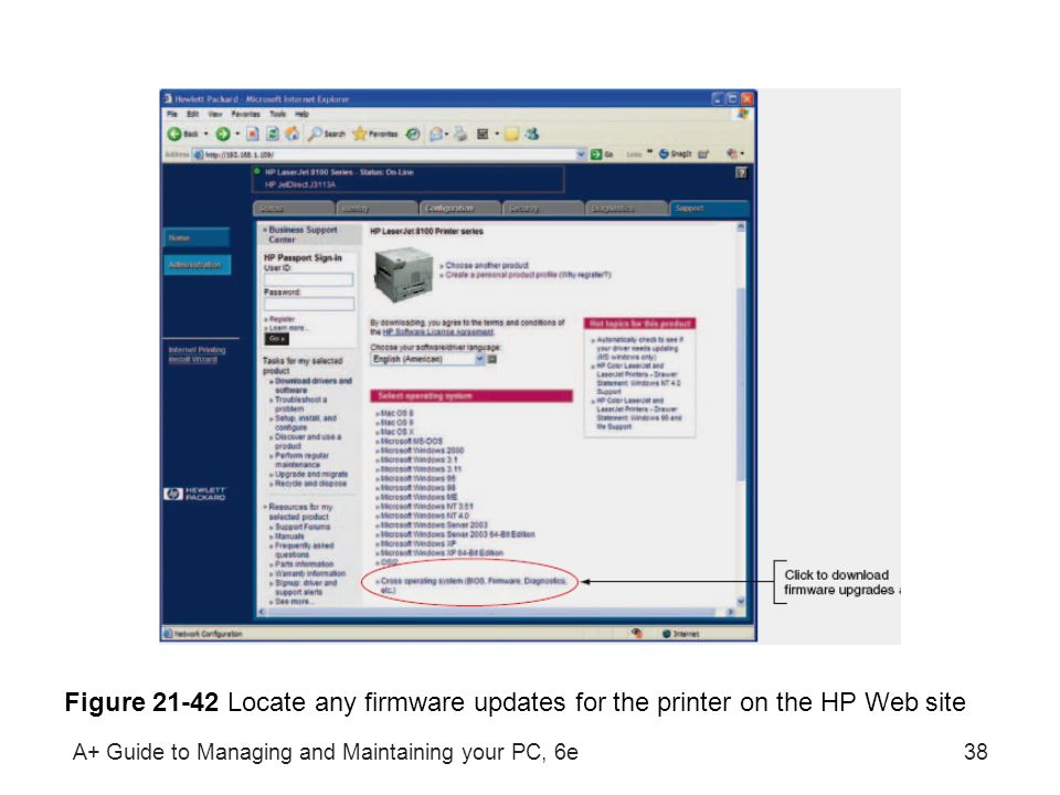 Figure 21-42 Locate any firmware updates for the printer on the HP Web site