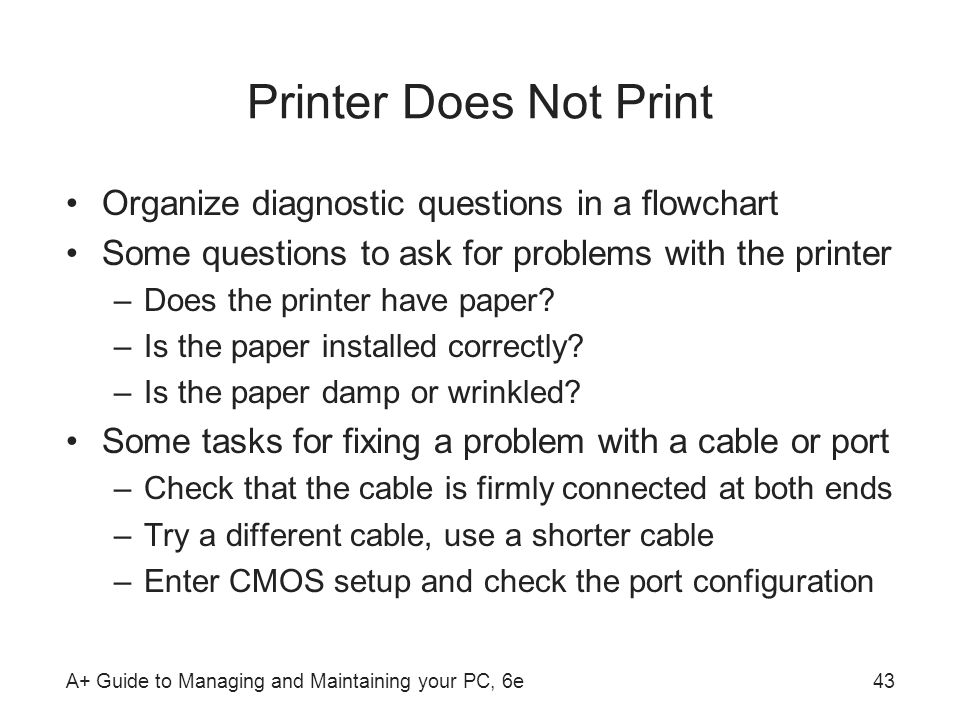 Printer Does Not Print Organize diagnostic questions in a flowchart
