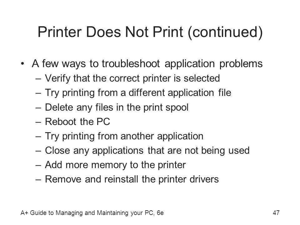 Printer Does Not Print (continued)