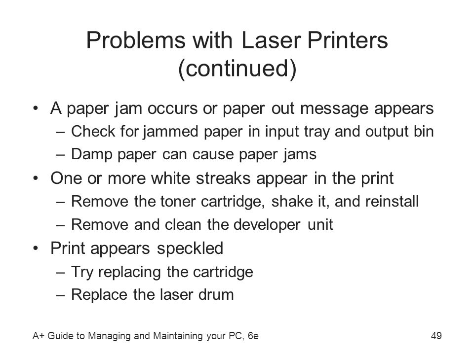 Problems with Laser Printers (continued)