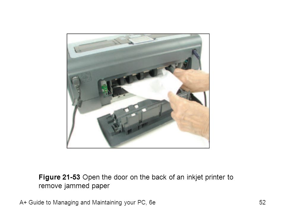 Figure Open the door on the back of an inkjet printer to remove jammed paper